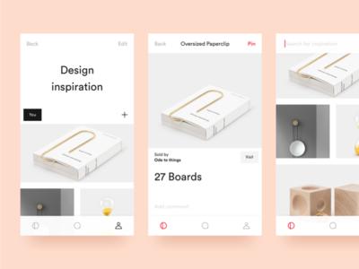 iOS Pinterest Rework ios ui simple pinterest product minimal interface interior design white