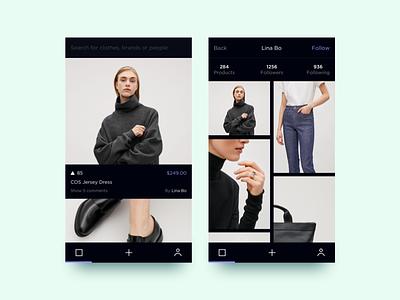 Fashion Feedback App social feedback dark ui simple product shopping minimal ios fashion interface design