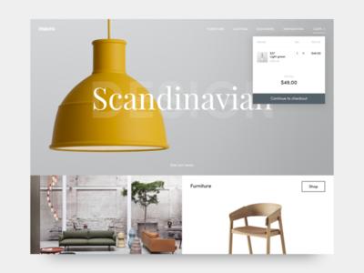 Muuto Landing page web ui simple product muuto minimal lighting landing interface furniture clean