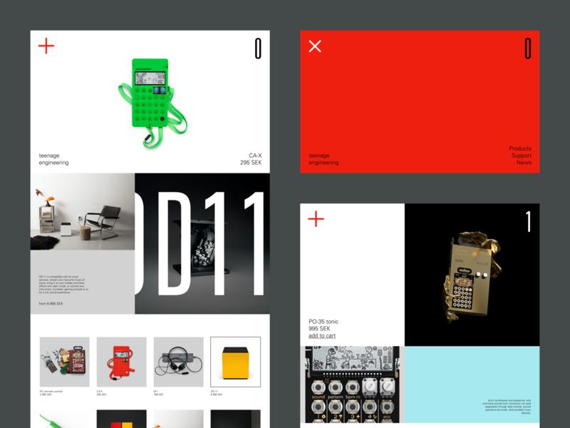 Teenage Engineering Rework productcard product interface branding design clean web minimal simple ui