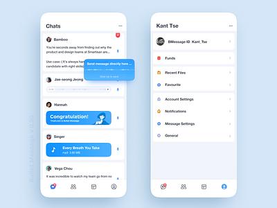 Bullet Message app icon profile chats message voice cards bubble kant tse