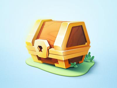 Chest grass illustration wood gold treasure box icon