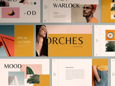 Orches Keynote layout exploration editorial layout layout design template clean minimal pitch deck moodboard branding presentation design keynote presentation keynote template keynote design presentation template
