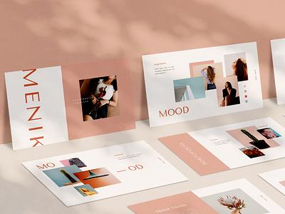 Menik Presentation pink layout exploration layout design powerpoint clean pitch deck minimal moodboard branding keynote presentation presentation template presentation design