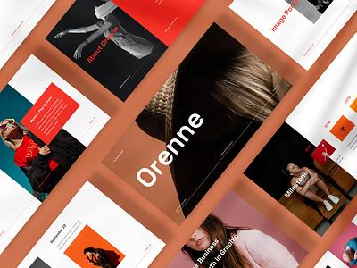 Orenne Presentation google slides powerpoint clean layout design pitch deck keynote presentation presentation template presentation design moodboard minimal branding
