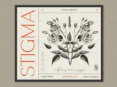 Rorschach Roses wine label monogram typogaphy hand drawn flower package design procreate illustration