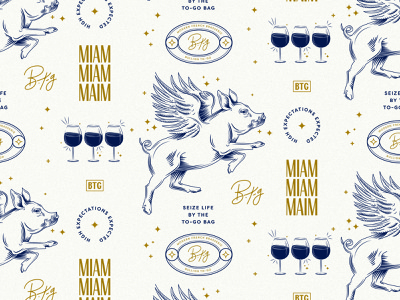 Oink Oink Oui Oui wine logo brand icon branding restaurant french pig vector illustration pattern