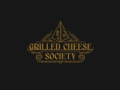 Secret Society of Grilled Cheese cheese illuminati linework 1920s vector illustration vector logo design logo