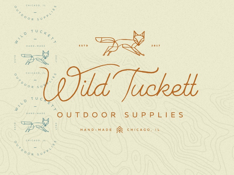 Wild Tuckett map tree outdoor nature wild animal fox mark handdrawn vector branding logo
