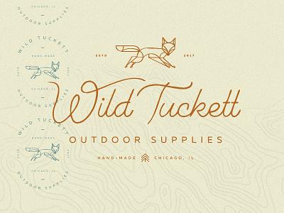 Wild Tuckett map tree outdoor nature wild animal fox mark handdrawn vector branding logo