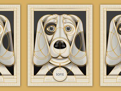 Golden Doggo gold geometric circle vector milwaukee illustration poster animal pet dog