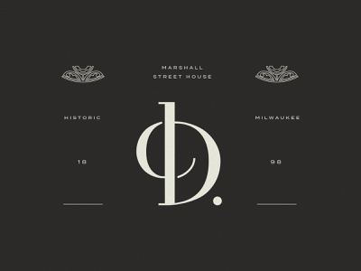 Death be to the D's d flourish modern black custom lettering hotel brand identity logo brand monogram