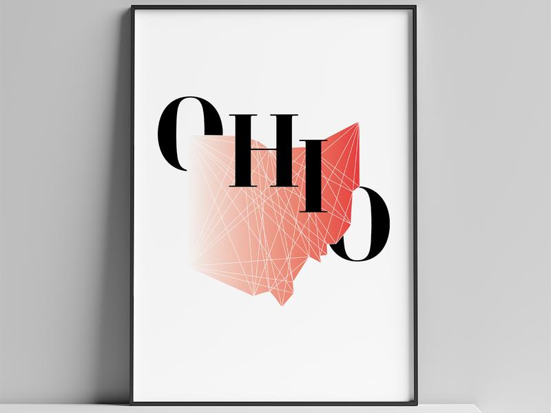 Ohio Poster framed art ohio graphic art digital art poster illustration