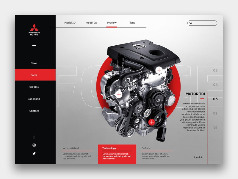Mitsubishi Parts Car Concept motors cars concept design landing clean ui web design uxui uidesign interface clean white ux user interface user interaction call to action ui