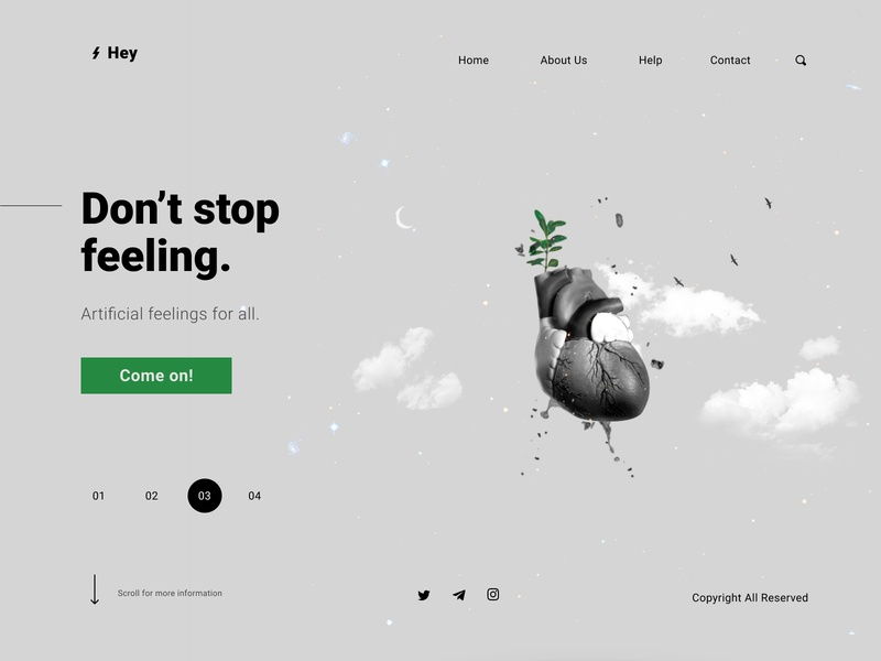 Emotion Landing Page Concept abstract art illustration illustrator digital concept art website concept abstract feeling emotion creative website web ux landing page ui landing page page landing ui composition