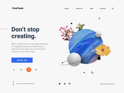 Artist Landing Page Concept interface interface design ui landing design website page design landing surreal art surrealism abstraction illustration editorial illustration abstract art abstract composition creative