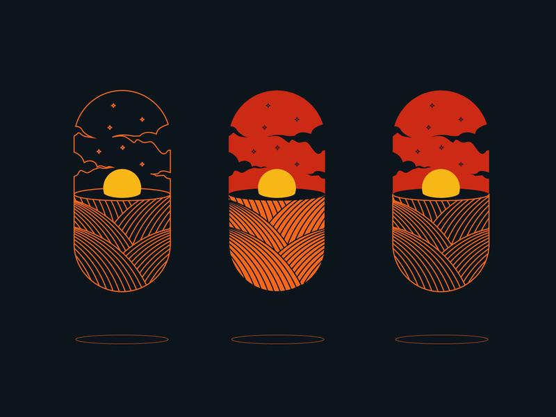 Sunset Capsule orange sun sunset illustrator minimalism minimalist logo minimalist vectorart vector illustration digital illustration vector capsule abstract illustrations illustraion ui illustration design creative composition