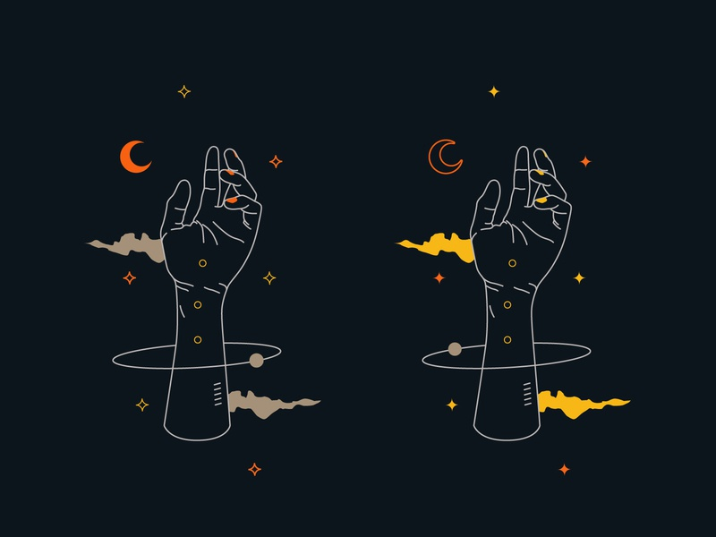 Space Hand uidesign stars aesthetics spacedchallenge vaporwave clouds moon hands spaced surreal art surreal abstract minimal illustrations ilustrator aesthetic space illustration