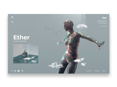 Ether | Landing Page abstract uiux landing page design clean ui game website web surrealism minimalism minimal surreal game art games user user interface uidesign ui design landing page use interface ui landingpage
