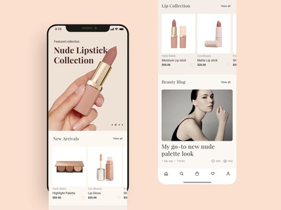 Makeup shopping app homepage UI design