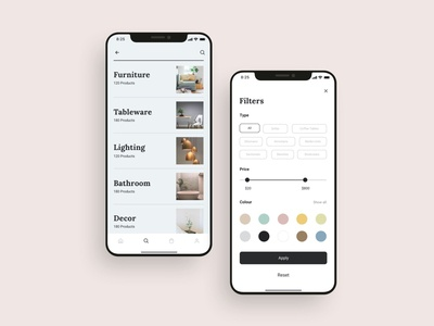 Ecommerce shopping mobile app filters UI design