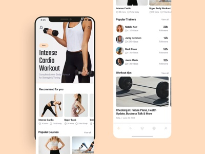 Fitness app home screens UI design app interface app templates homepage design yoga app workout app fitness app mobile app ui design figma sketchapp adobe xd ui design ui ux design ui kit 设计 应用 应用界面