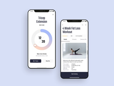 Fitness course screen UI design video app yoga app workout app fitness app app templates mobile ui ui design mobile app ui design figma adobe xd sketchapp ui ux design ui kit 设计 应用 应用界面