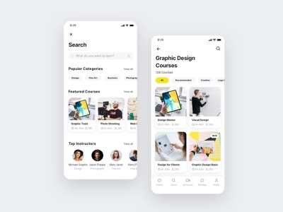 Online course searching screen UI design search ui searching learning app figma app designer app design ui design mobile app ui design ui ux design ui kit 设计 应用 应用界面