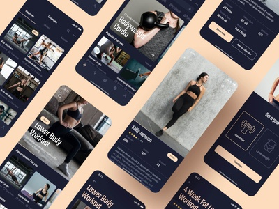 Fitness App UI Design app template ui ux designer fitness app design uikits dashboard training app dark mode yoga app workout app fitness app ui design mobile app ui design uikit ui kit ui ux design 设计 应用 应用界面