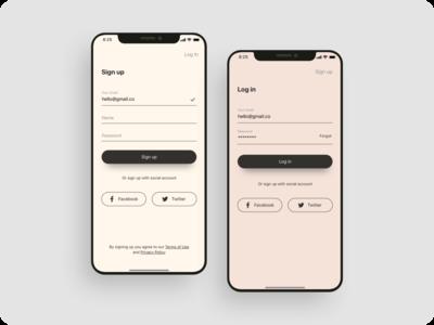 Minimalist log in sign up UI design