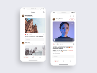 Social feeds UI design