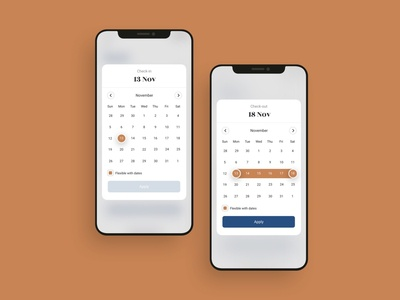 Hotel booking mobile app calendar UI design