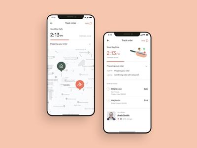 Food delivery app order UI design