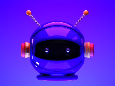 Robot Helmet gradient art illustration bot chatbot robot branding octane cinema4d 3d