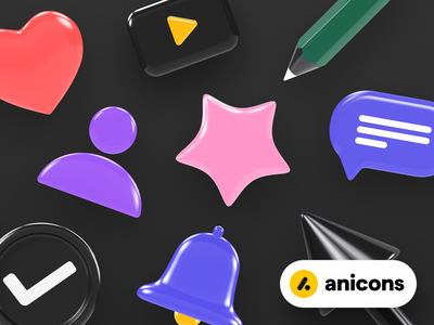 Anicons - 3D icons 🚀 anicons figma c4d iconography ui illustration colorful app design 3d branding icon set