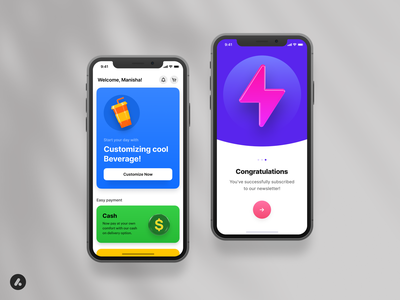 Anicons - Example screens 📱 example screens spark icon payment dollar icon coin icon beverage icon branding figma design octane render cinema4d ui design mobile app anicons icon pack 3d illustration 3d icon 3d