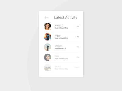 Activity Feed ui ux app whitespace clean minimal 047 daily100 activity feed dailyui