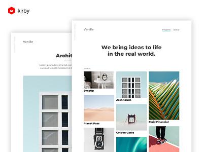 Vanille - Minimal Kirby Theme masonry grid personal portfolio minimal web design website theme kirby cms kirby