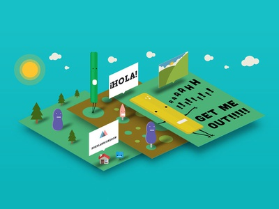 Altered Course vector illustration character branding perspective isometric