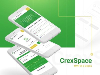 Crexspace - MVP in 6 weeks business behance yellow green form social currency currency exchange process mobile mvp ux ui stx next