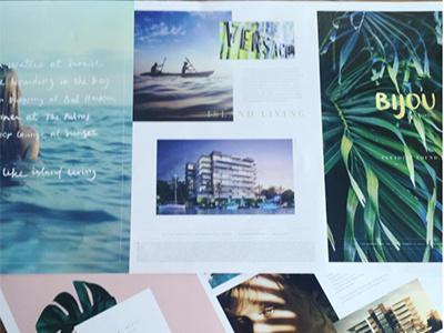 Marketing Collateral | Bijou green ocean pastel lifestyle tropical printcollateral printdesign marketingcollateral brochure brandingagency realestatebranding realestate