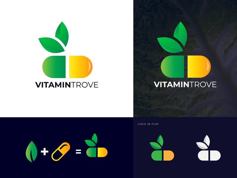 VitaminTrove Logo Design capsules vitamins company business logosketch logo a day logo design vector logo designer design business logo illustration gradient branding concept branding and identity branding logotype logos logo logo mark