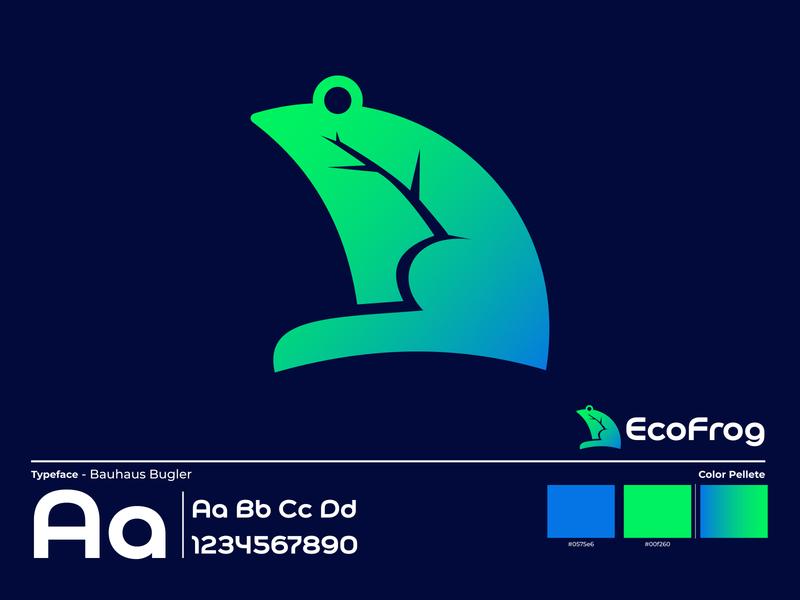 EcoFrog Logo Design For Sale logoforsale typeface green logo natural logo eco logo frog logo logodesigns branding illustration gradient vector company logo business logo logotype needlogodesigner needlogo logodesigner logoconcept logodesign logo