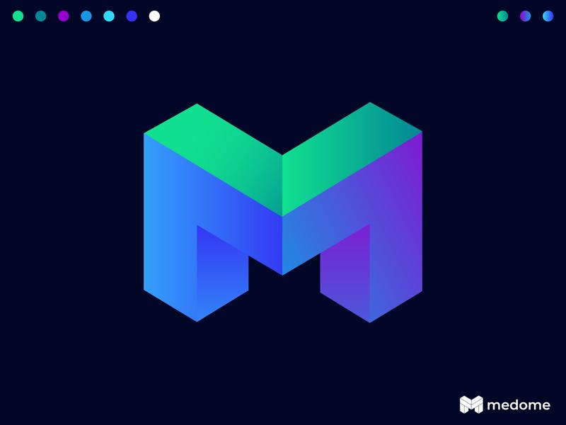 Medome Logo Design | M Logo Mark colorful business tech logo symbol m letter m logo lettermark monogram modern design logo mark illustration vector gradient branding concept branding 3d logo abstract logodesign logo