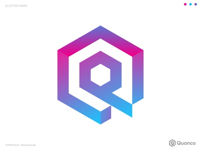 Quanco Logo Design poligon 3d logo illustraion vector branding concept gradient brand identity dribbble behance q letter q logo unique monogram abstract modern creative branding logo mark logo design logo