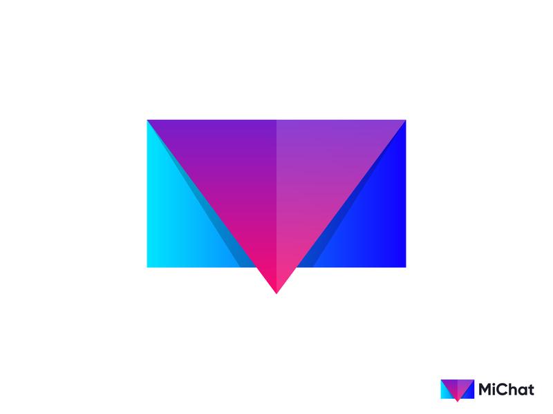MiChat Logo Design envelop colorful unique design creative m letter m logo chat app minimal mark symbol illustration logomark vector gradient 3d logo abstract branding logodesigner logo design