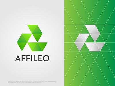 Affileo Logo Design logos 3d logo abstract illustration dribbble logofolio logoforsale vector green a letter a logo logotype logo mark brand agency branding concept brand identity branding logodesigner logodesign logo