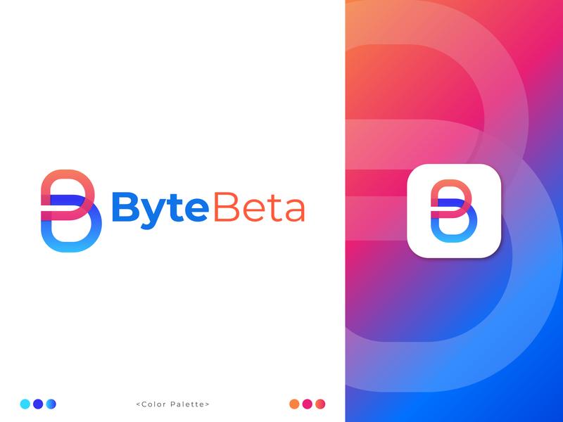 ByteBeta Logo Design app icon b letter b logo monogram modern marketing logotype logo mark logo designer letter logo letter design gredient designer creative logo concept branding and identity branding abstract design abstract art abstract