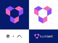 Buildart Logo Design grid logo design 2 color presentation unique logo logo designer branding agency logos house logo build cube logo modern creative agency abstract logo buisness vector icon mark symbol branding logotype logo design