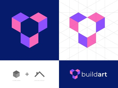 Buildart Logo Design grid logo design 2 color presentation unique logo logo designer branding agency logos house logo build cube logo modern creative agency abstract logo buisness vector icon mark symbol branding logotype logo design